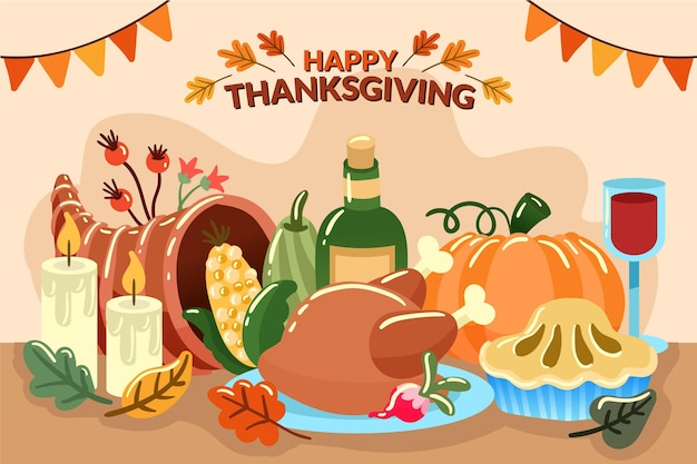 Thanksgiving background hand drawn style