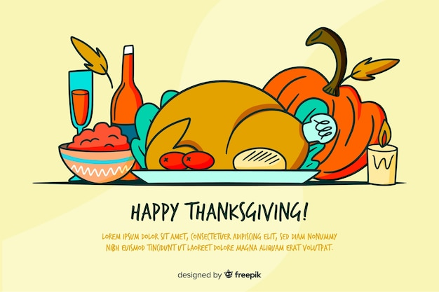 Thanksgiving background in hand drawn