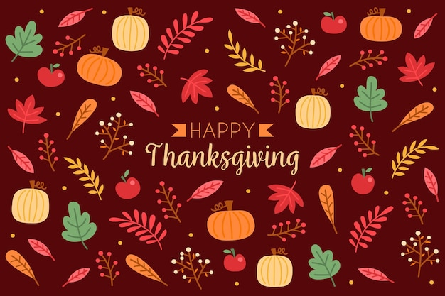 Тыква фон благодарения и листья
