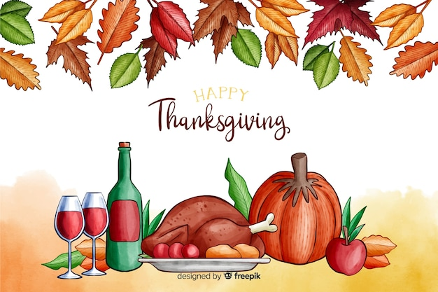 Thanksgiving background in watercolor