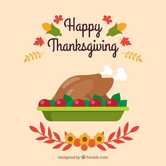 Thanksgiving background with delicious turkey