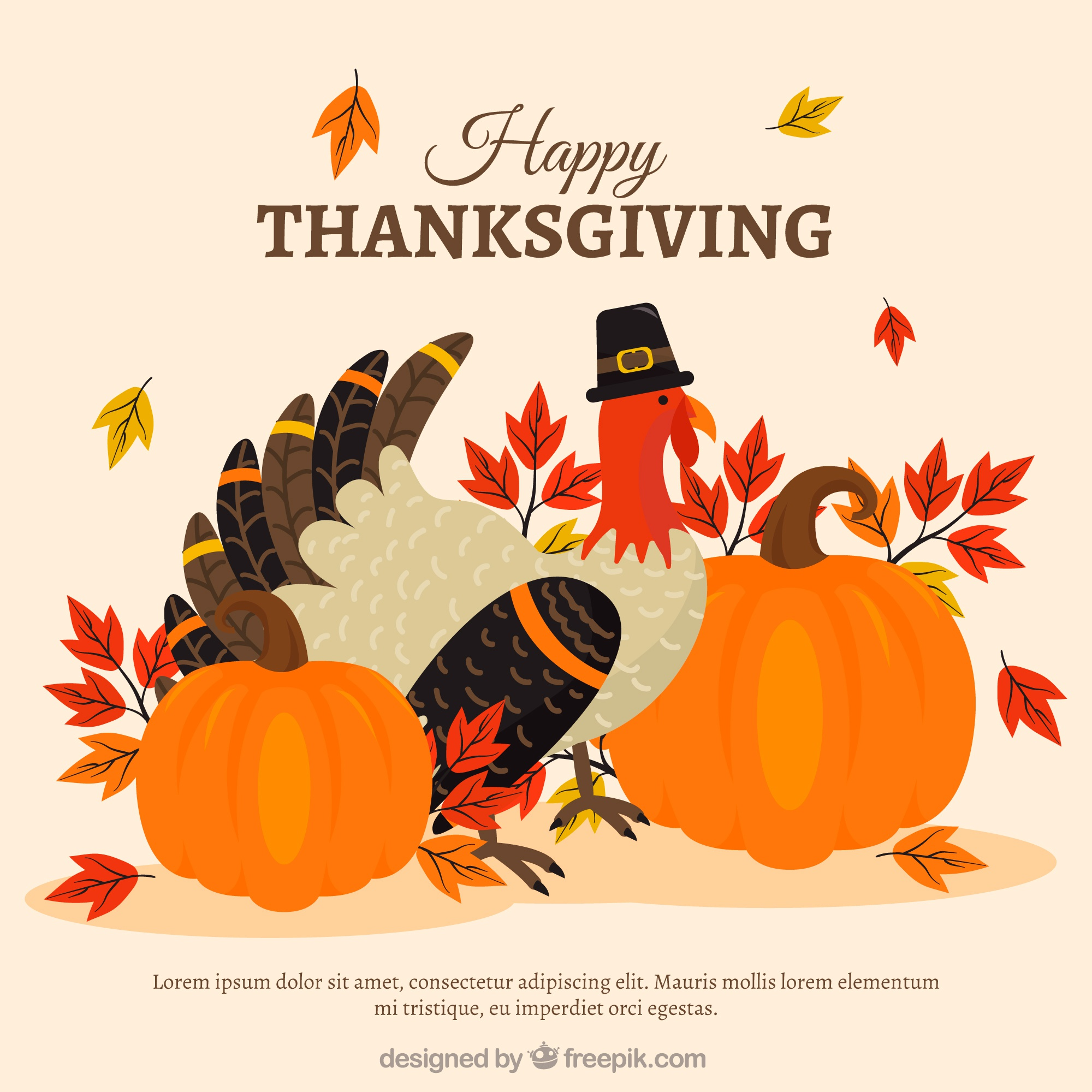 Thanksgiving background with elegant turkey and pumpkins