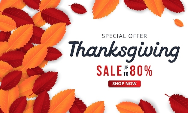 Thanksgiving background with leaves for shopping sale or promo poster and frame leaflet.