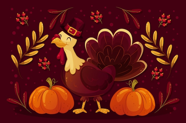 Thanksgiving background with smiley turkey
