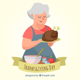 Thanksgiving background with woman cooking turkey
