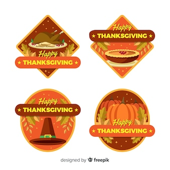 Thanksgiving badge collection in flat design