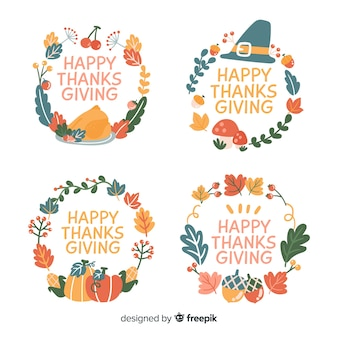 Thanksgiving badge collection hand drawn style