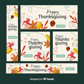 Thanksgiving banners in flat design