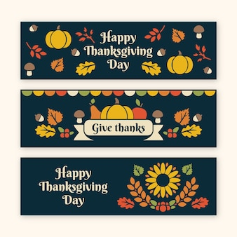 Thanksgiving banners with colorful design