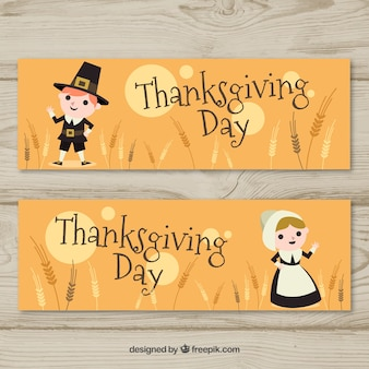 Thanksgiving banners with lovely characters