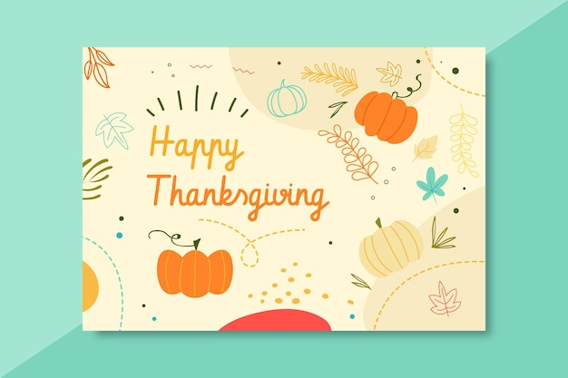 Thanksgiving card template with greeting and pumpkins