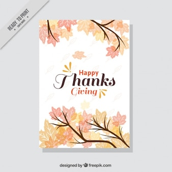 Thanksgiving card with branches and leaves