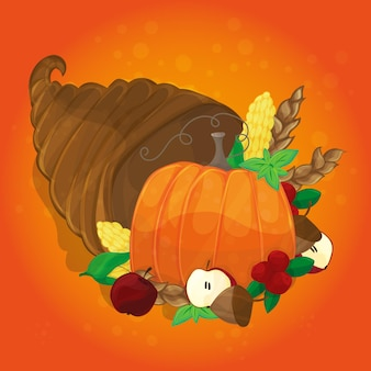 Thanksgiving card with decorative pumpkin. colorful design. vector illustration