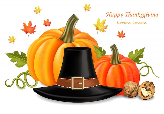 Thanksgiving card with traditional hat
