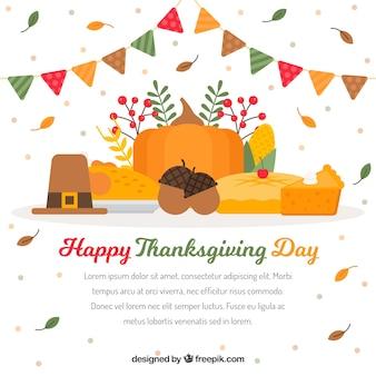 Thanksgiving celebration background in flat design