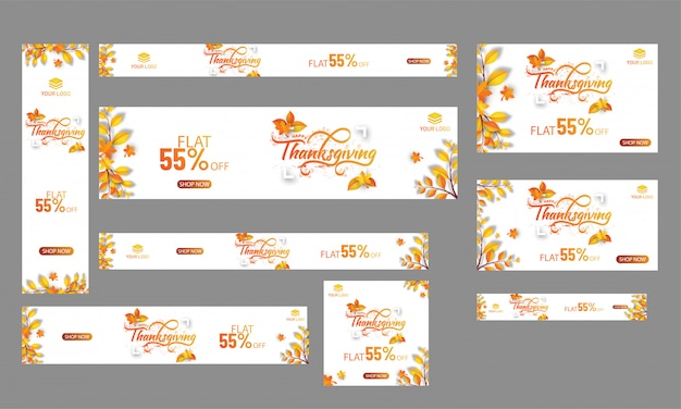 Thanksgiving celebration banner or poster set with 55% discount