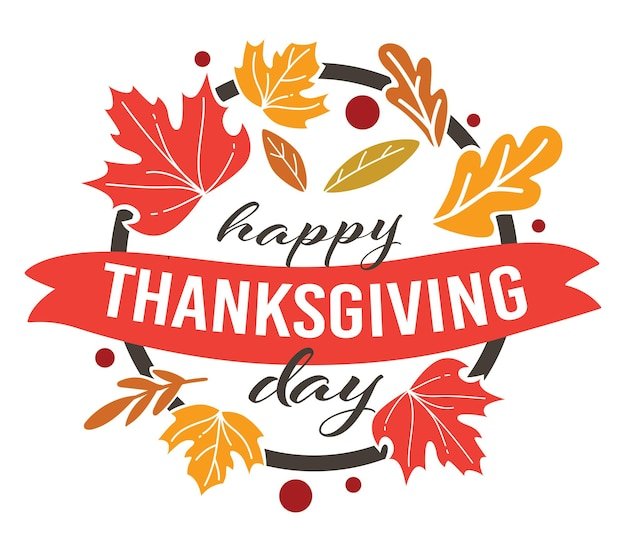미국의 전통 명절 추수감사절 축하, 둥근 모양의 고립된 배너. 식물 표본 상자 또는 마른 잎, 단풍나무 잎, 배너가 있는 서예 텍스트. 식물상 벡터와 가지