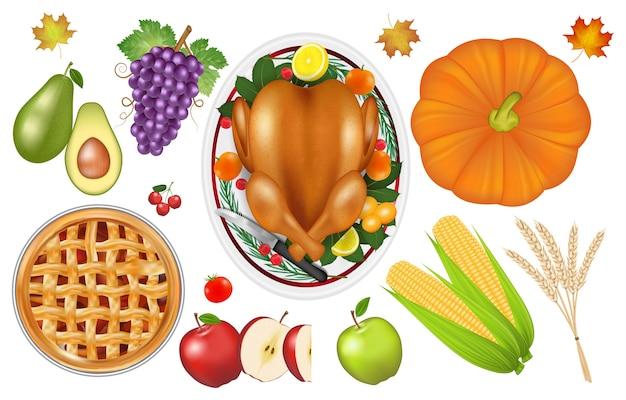 感謝祭のお祝いの伝統的な食べ物とフルーツのセット