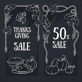 Thanksgiving chalkboard hand drawn banner for thanksgiving harvest festival.