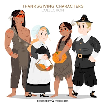 Thanksgiving characters set