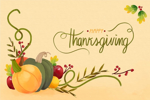 Thanksgiving concept in watercolor