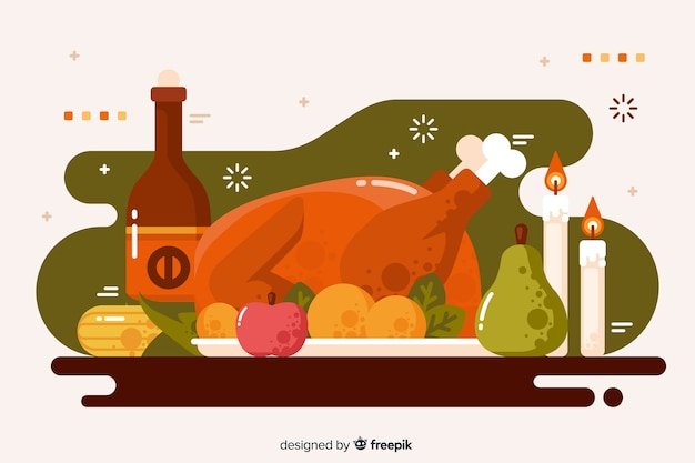 Thanksgiving concept with flat design background
