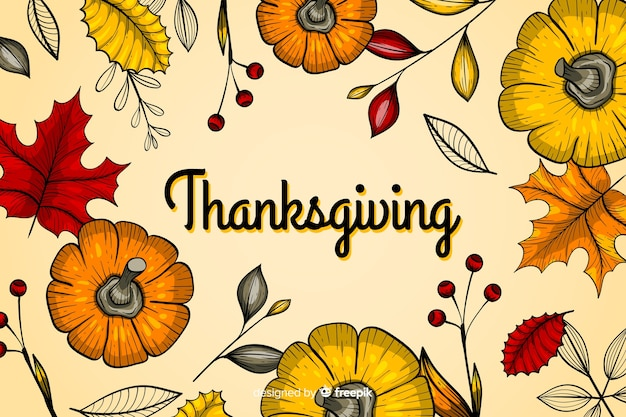 Thanksgiving concept with hand drawn background