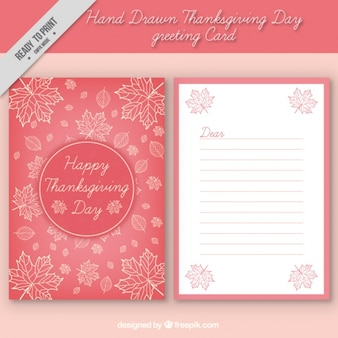 Thanksgiving cute greeting card with hand-drawn leaves