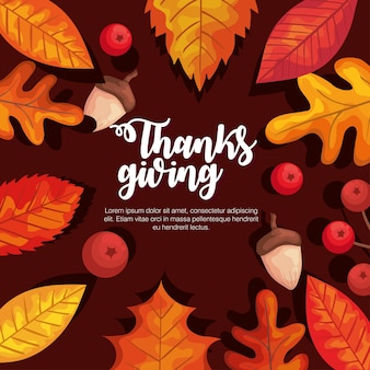 Thanksgiving day autumn leaves berries and acorns design, season theme  illustration