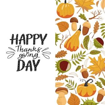 Thanksgiving day autumn leaves pumpkin chestnut acorn mushroom and lettering