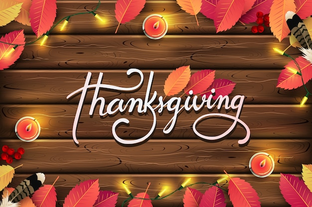 Thanksgiving day background. autumn season calligraphic thanksgiving lettering.
