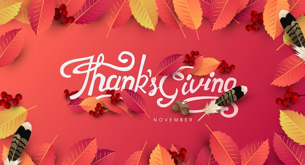 Thanksgiving day background. autumn season happy thanksgiving inscription.