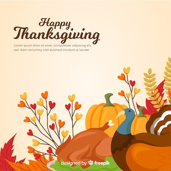 Thanksgiving day background in flat design with autumn elements