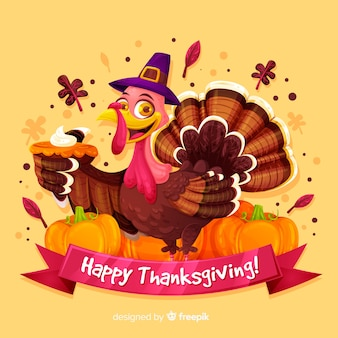 Thanksgiving day background in flat design with turkey