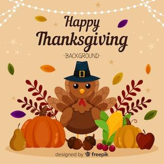 День благодарения в плоском дизайне с индейкой