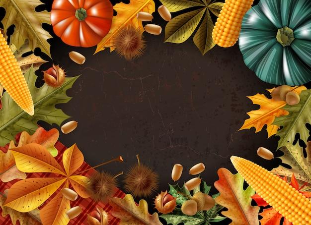 さまざまな製品や葉のベクトル図から作られたフレームと感謝祭の日の背景