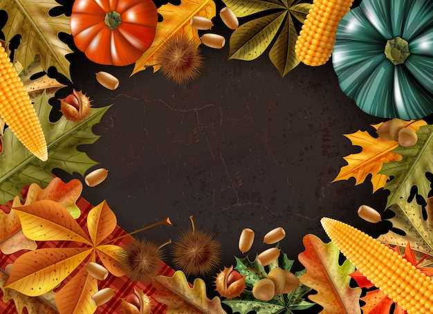 Thanksgiving day background with frame made from different products and leaves vector illustration