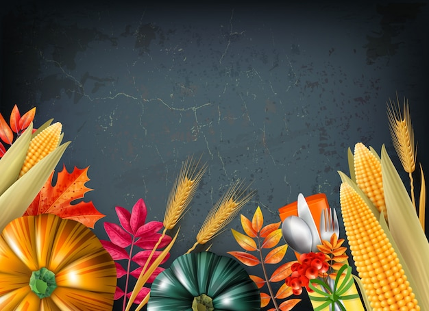 Thanksgiving day background with multicolored 3d and realistic pumpkins and orange leaves vector illustration
