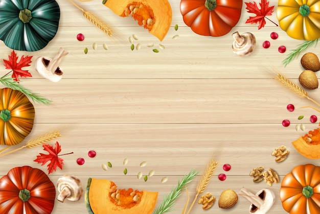 Thanksgiving day background with multicolored composition or frame with pumpkins sliced mushrooms and different elements of festive dish vector illustration