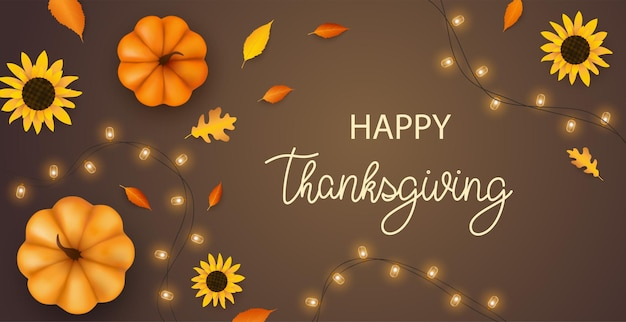 Thanksgiving day background with pumpkins flowers fall foliage and garland realistic 3d