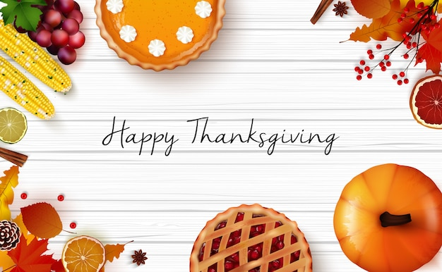 Thanksgiving day background with traditional holiday dinner on wooden table