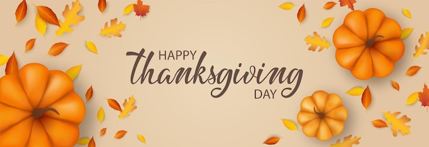 Thanksgiving day banner background with pumpkins and fall foliage realistic 3d illustration