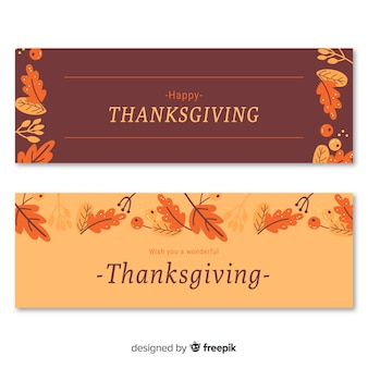 Thanksgiving day banner set with autumn elements