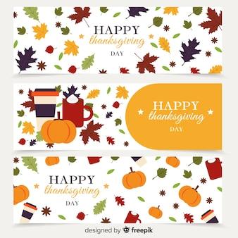 Баннер с днем благодарения с элементами осени
