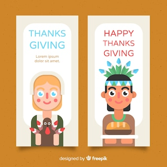 Thanksgiving day banner set with cute characters