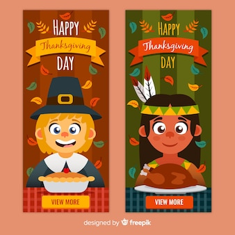 Thanksgiving day banner set with cute kids