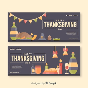 Thanksgiving day banner set  with food