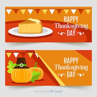 Thanksgiving day banner set with pumpkins and pie