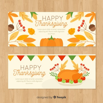 Thanksgiving day banner set with pumpkins and turkey