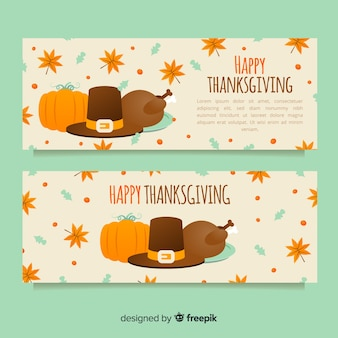 Thanksgiving day banner set with pumpkins